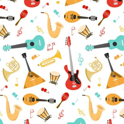 Tapeta Seamless pattern with musical instruments on the white background.