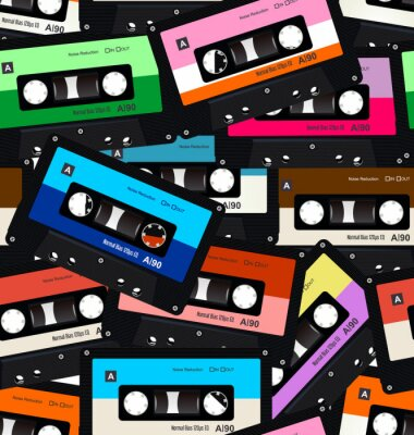 Tapeta Seamless pattern with old audio retro cassettes