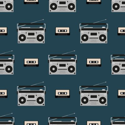 Tapeta Seamless pattern with old boomboxes and tape cassettes. Vintage music print. Retro vector illustration.