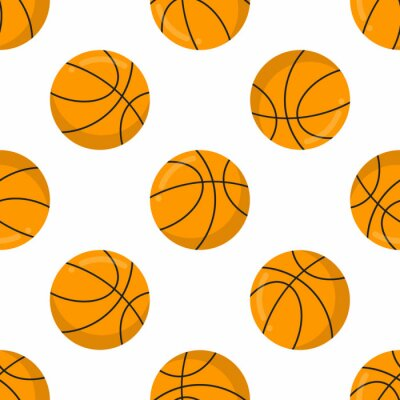 Tapeta Seamless pattern with orange basketball balls flat style design vector illustration isolated on white background. Basketball - popular sport game and ball - symbol of it.