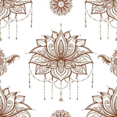 Tapeta Seamless pattern with ornate Lotus flower. Ayurveda symbol of harmony and balance and universe. Tattoo design, yoga logo. Boho print, poster, t-shirt textile. Isolated outline vector illustration.
