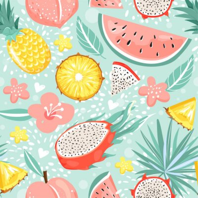 Tapeta Seamless pattern with pineapple, dragon fruit, watermelon, peach, flowers, leaves and heart. Summer vibes. Vector texture for textile, postcard, wrapping paper, packaging etc. Vector illustration.