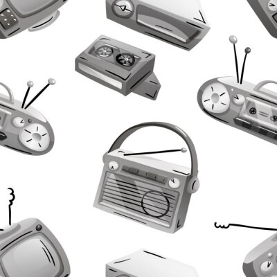 Tapeta Seamless pattern with retro devices in grayscale