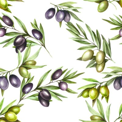 Tapeta Seamless pattern with ripe black and green olives on white. Hand draw watercolor illustration.