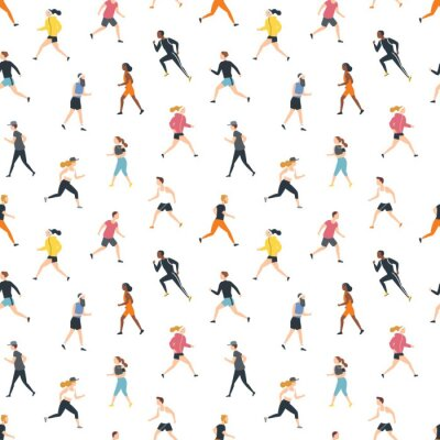 Tapeta Seamless pattern with running people or athletes on white background. Backdrop with men and women performing physical exercise. Flat cartoon colorful vector illustration for wrapping paper, wallpaper.