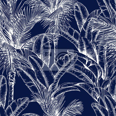 Tapeta Seamless pattern with sketchy tropical leaves. White line. Hand drawn vector illustration on dark blue background.