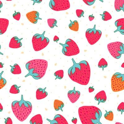 Tapeta Seamless pattern with sweet strawberries. Fruit background