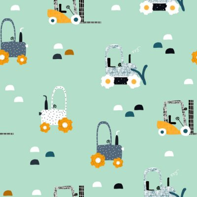 Tapeta Seamless pattern with tractor and bulldozer. Funny kids print. Vector hand drawn illustration.