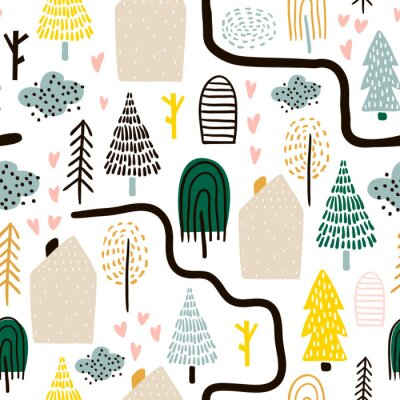 Tapeta Seamless pattern with trees, houses. Forest background. Childish texture for fabric, textile.Vector Illustration