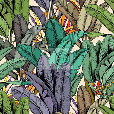 Tapeta Seamless pattern with tropical banana leaves and strelitzia flowers. Hand drawn vector illustration.
