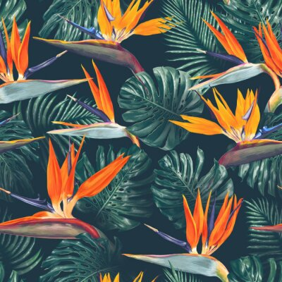 Tapeta Seamless pattern with tropical flowers and leaves. Strelitzia flowers, Monstera and Palm leaves. Realistic style, hand drawn, vector. Background for prints, fabric, wallpapers, poster, wrapping paper.