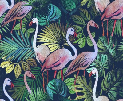 Tapeta Seamless pattern with tropical leaves and pink flamingos. Tropical  background.