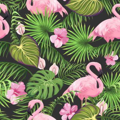 Tapeta Seamless pattern with tropical leaves, exotic flowers and flamingo
