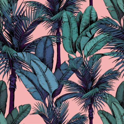 Tapeta Seamless pattern with tropical palm and banana leaves on pink background. Hand drawn vector illustration.