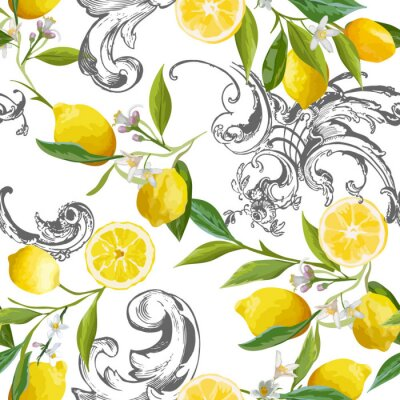 Tapeta Seamless Pattern with vintage barocco design with yellow Lemon Fruits, Floral Background with Flowers, Leaves, Lemons for Wallpaper, Fabric, Print. Vector illustration