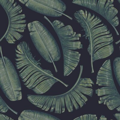 Tapeta Seamless pattern with vintage dark banana palm leaves  in realistic style with high details. Tropical elements for, poster, patterns, wallpapers, T-Shirt prints, backgrounds, surface texture.