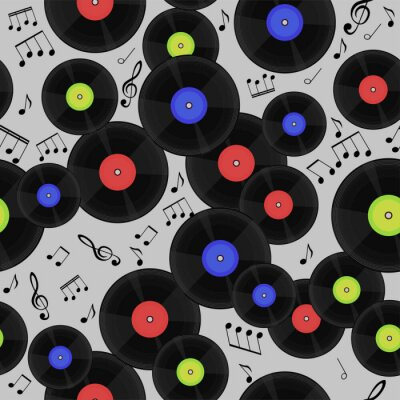 Tapeta Seamless pattern with vinyl records and notes.