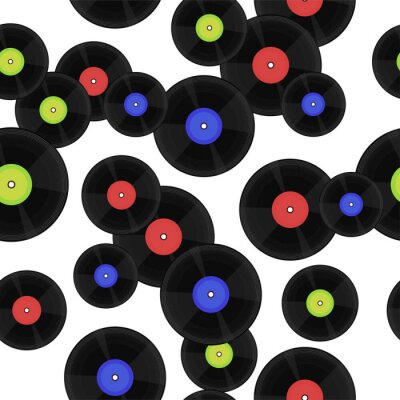 Tapeta Seamless pattern with vinyl records. Vector graphics.