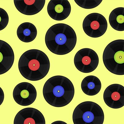 Tapeta Seamless pattern with vinyl records. vector image