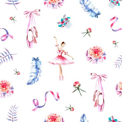 Tapeta Seamless pattern with watercolor hand painted ballerina, ribbons, feathers, pointes, peonies, hair-pins, twigs
