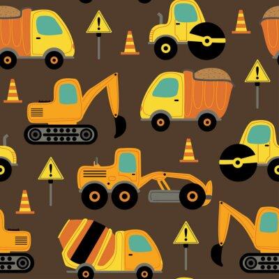 Tapeta seamless pattern with work trucks - vector illustration, eps