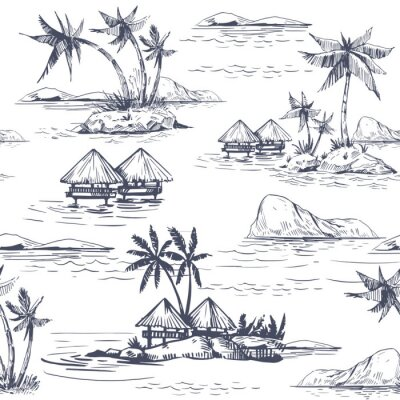 Tapeta Seamless patterns with tropical landscapes, palm trees, hawaii. Hand drawn style. Vector outline
