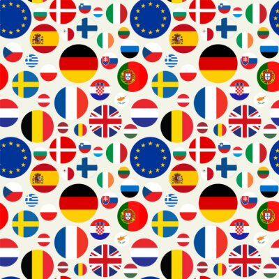 Tapeta Seamless political pattern with European Union countries flags. Vector colorful illustration with set EU members emblems.