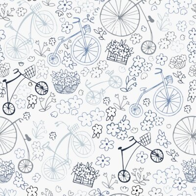 Tapeta Seamless retro pattern with bikes and flowers. Vector illustration. Design of textiles,packaging