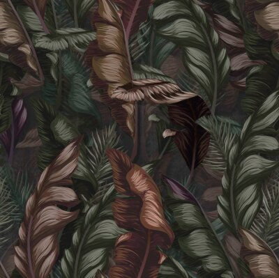 Tapeta Seamless tropical flower, plant and leaf pattern background, retro botanical style. Stylish flowers