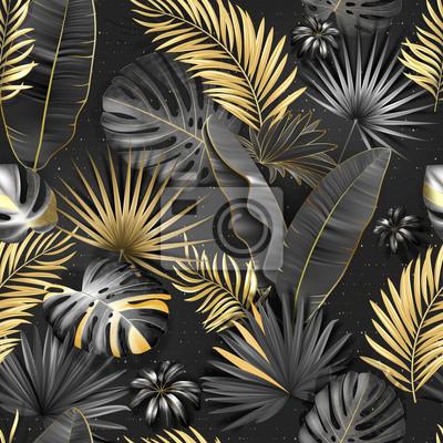 Tapeta Seamless tropical pattern. Leaves palm tree illustration. Gold, gray, black lives