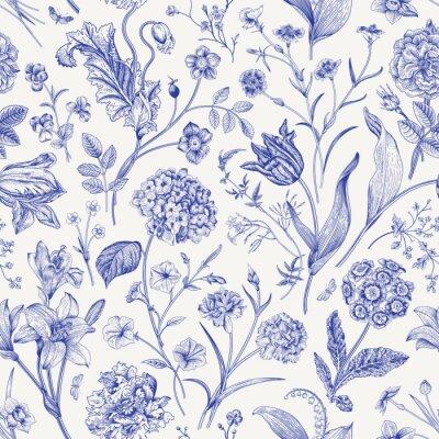 Tapeta Seamless vector floral pattern. Classic illustration. Toile de Jouy