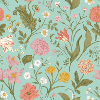 Tapeta Seamless vector floral pattern. Shabby Chic. Classic illustration