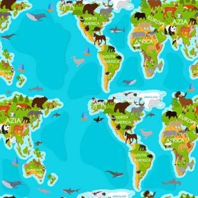 Tapeta Seamless vector pattern with animals on the world map