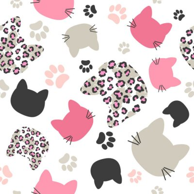 Tapeta Seamless vector pattern with cats heads and leopard print for kids