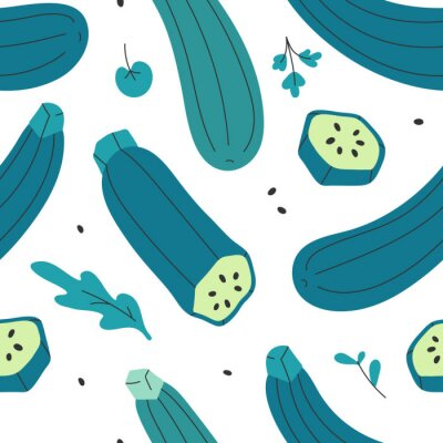 Tapeta Seamless vector pattern with fresh organic vegetable zucchini squash with leaves and herb. Backdrop with vegetarian food ingredient. Colorful cartoon illustration for fabric print, kitchen textile.