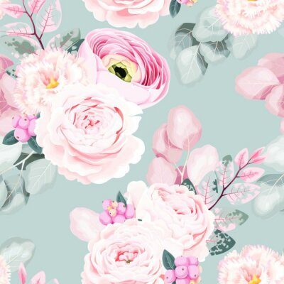 Tapeta Seamless vector pattern with pastel vintage flower