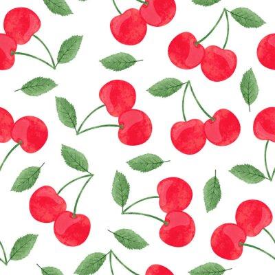 Tapeta Seamless vector watercolor cherry pattern.