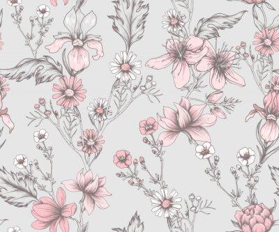 Tapeta Seamless vintage pattern with flowers
