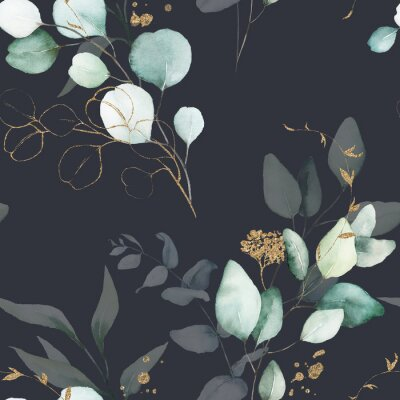 Tapeta Seamless watercolor floral pattern - green & gold leaves, branches composition on black background, perfect for wrappers, wallpapers, postcards, greeting cards, wedding invitations, romantic events.