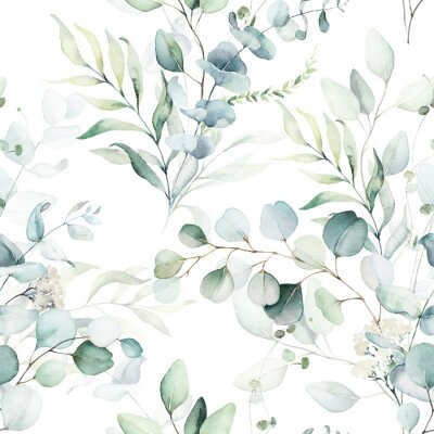 Tapeta Seamless watercolor floral pattern - green leaves and branches composition on white background, perfect for wrappers, wallpapers, postcards, greeting cards, wedding invitations, romantic events.