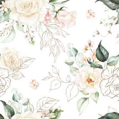 Tapeta Seamless watercolor floral pattern - pink flowers, gold elements, green leaves & branches on white background; for wrappers, wallpapers, postcards, greeting cards, wedding invites, romantic events.