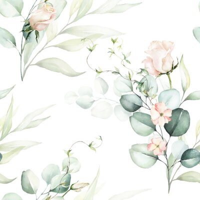 Tapeta Seamless watercolor floral pattern - pink flowers, green leaves & branches on white background; for wrappers, wallpapers, postcards, greeting cards, wedding invitations, romantic events.