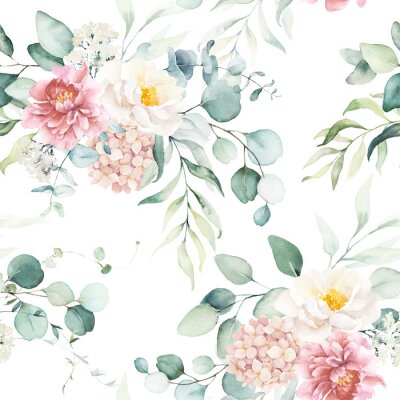 Tapeta Seamless watercolor floral pattern with pink & peach cream flowers, leaves composition on white background, perfect for wrappers, wallpapers, postcards, greeting cards, wedding invitations, events.