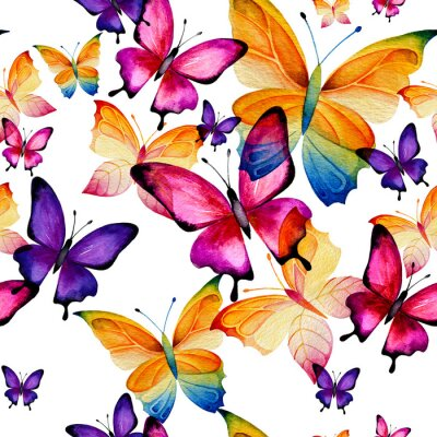 Tapeta Seamless watercolor pattern of colorful butterflies on a white background. Fluttering moths