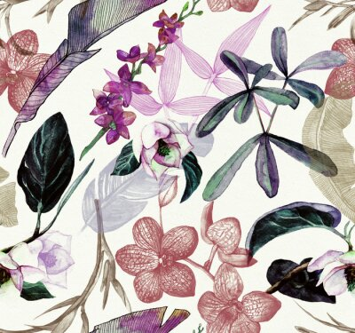 Tapeta Seamless watercolor pattern with tropical flowers, magnolia, orange flower, vanilla orchid, tropical leaves, banana leaves