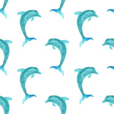Tapeta Seamless watercolour dolphin pattern.