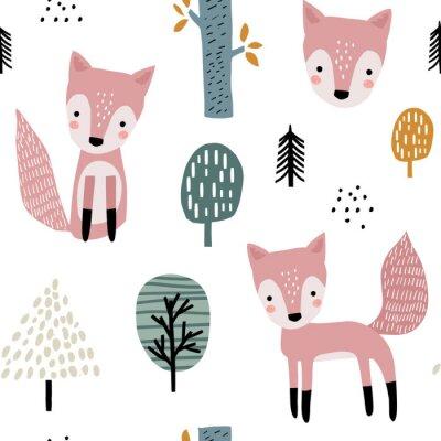 Tapeta Semless lasu wzór z ślicznymi lisami i ręka rysującymi elementami. Dziecinna tekstura w stylu skandynawskim do tkanin, tekstyliów, odzieży, dekoracji szkółkarskich. Ilustracji wektorowych