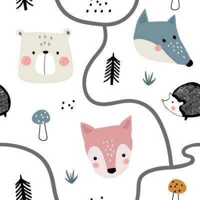 Tapeta Semless leśny wzór z uroczymi twarzami zwierząt i ręcznie rysowane elementy. Dziecinna tekstura w stylu skandynawskim do tkanin, tekstyliów, odzieży, dekoracji szkółkarskich. Ilustracji wektorowych