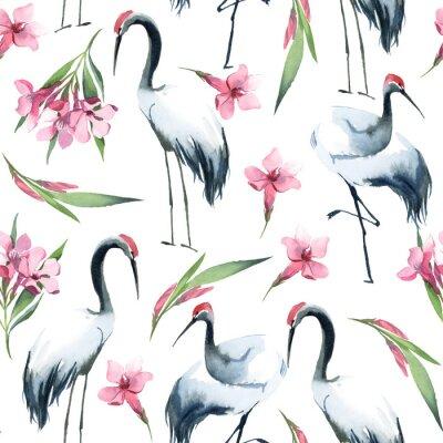 Tapeta Semless wzór bociany i różowi kwiaty na białym tle