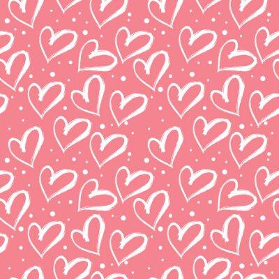 Tapeta Serca szwu. Ręcznie rysowane elementy tła za pomocą pędzla. Idealny na uroczystości, zaproszenie, dzień matki i Walentynki